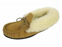 W073 - Ladies Suede Moccasin With Wool Collar& Lining